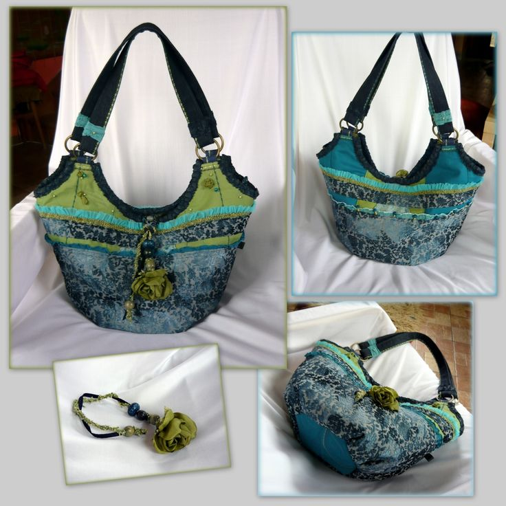 Handmade by Judy Majoros - Turquoise-green rose handbag-tote. Recycled bag. Silk-beaded-lace