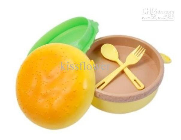 Wholesale Cute Round Hamburger Shape Bento Lunch Box Spoon Fork Kit Dinnerware Sets, Free shipping, $3.87-4.52/Set | DHgate