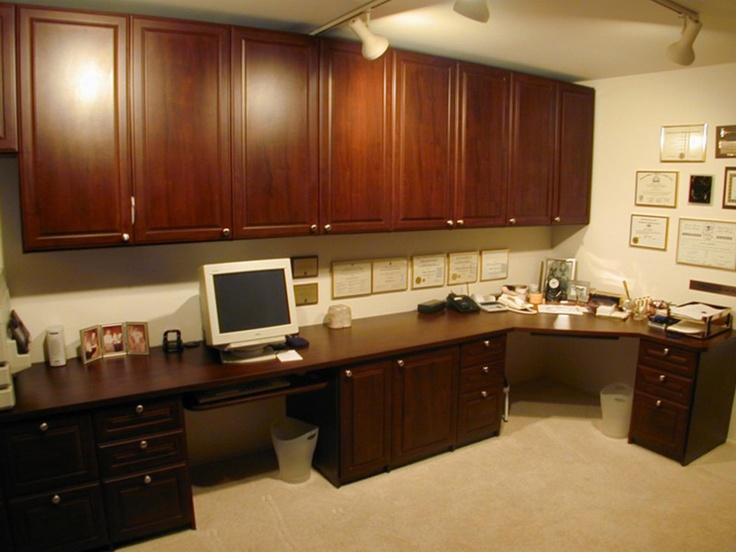 Custom Home Office System With A Computer Station And Also A Large Corner  Desk. Raised