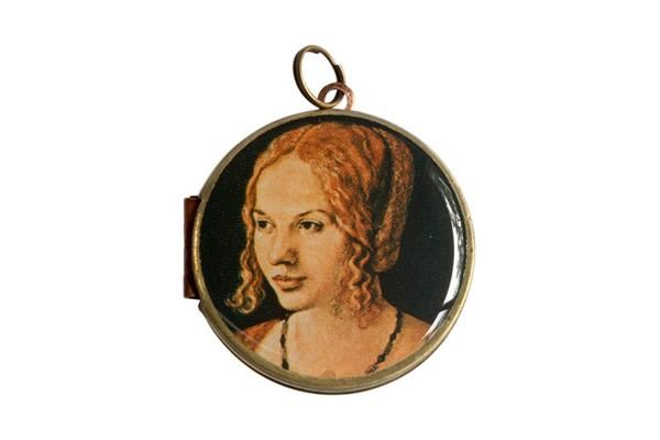 """Featuring the 1505 oil painting """"Portrait of a Young Venetian Woman"""" by German artist Albrecht Dürer, this postage stamp was released in 1971 by Burundi.  The vintage locket is made from brass and copper and measures 30mm in diameter. The locket opens from the side and is capable of holding 2 of your most precious memories inside."""
