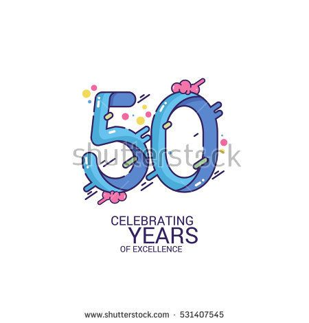 50 Years Anniversary Design, Blue Splash Colored Logo Celebration Isolated on White Background