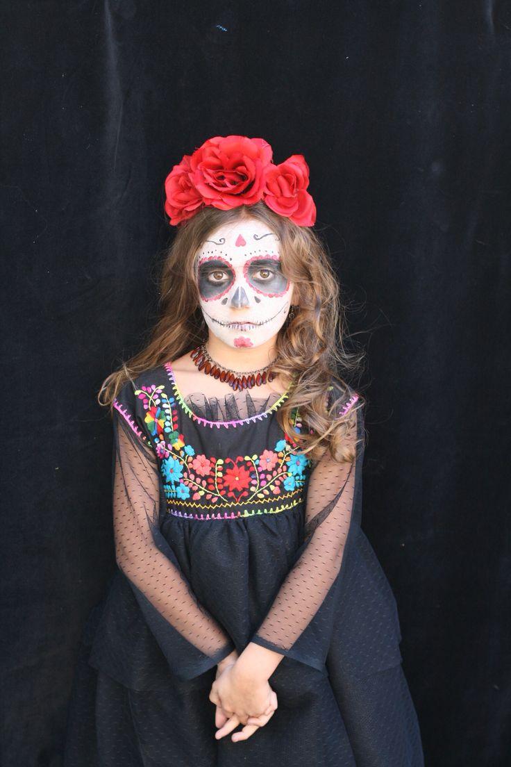 Day of the Dead girl costume. (Dia de Los Muertos)