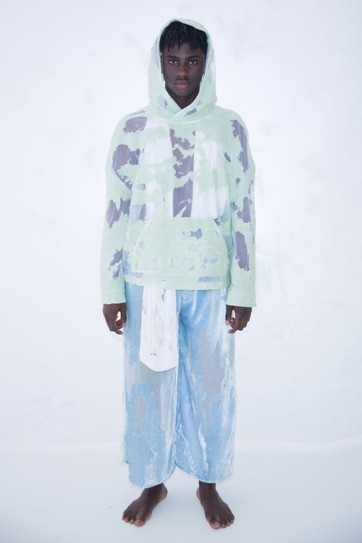 KA WA KEY Spring Summer 2017 London Collections: MEN Experimental sensuous romantic textile on Menswear / Womenswear / Knitwear as an east-meet-west impressionism painting Lime Green Devore Knit Hoodie White Devore White Cable Knit Scarf Light Blue Devore Velvet Baggy Jeans