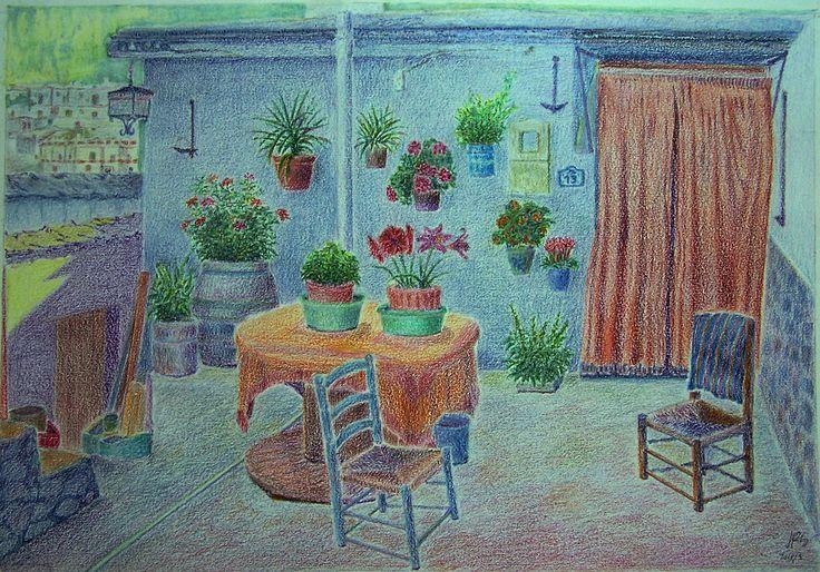 Ceras. Patio de una casa en la Alpujarra.