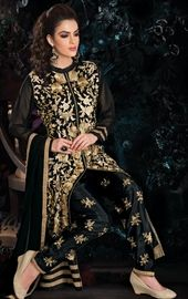 Picture of Splendid Black Color Pent Kameez