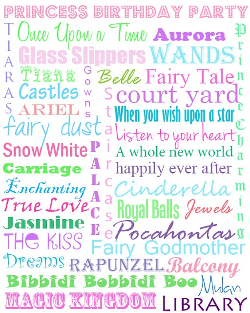 Princess subway art- Laney will love this!!!: Subway Art, Birthday Parties, Princesses Printables, Parties Ideas, Princess Party, Princesses Parties, Life Com Subwayart, Free Printables, Birthday Ideas