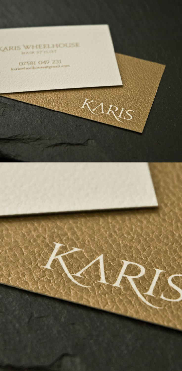 Textured business card printed in metallic gold. By Sama Studio Ltd.