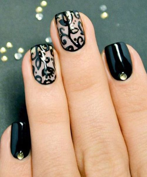 Graceful Prom Nail Art I think I would like this much more when done in colour or with white