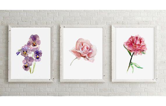 Roos  viooltjes  pioenroos Aquarel  Set van 3 giclee door Zendrawing