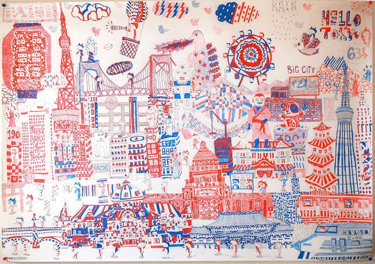 Fantastic completed NuRIE colouring map with only red & blue ball point pen! - Tokyo city