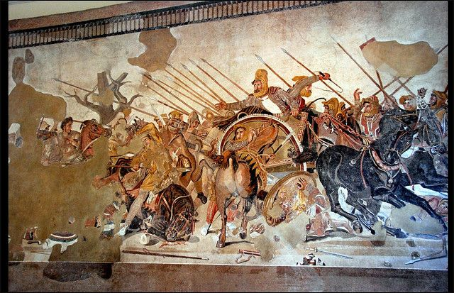 Ancient Roman mosaic, depicting the Battle between Alexander the Great and Darius III of Persia. It was found in 1831 in the House of the Faun in Pompei - Museo Arch. Naz., Napoli.