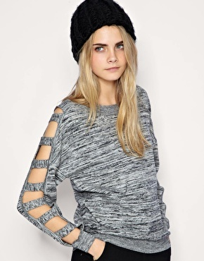 gray cut out sweater