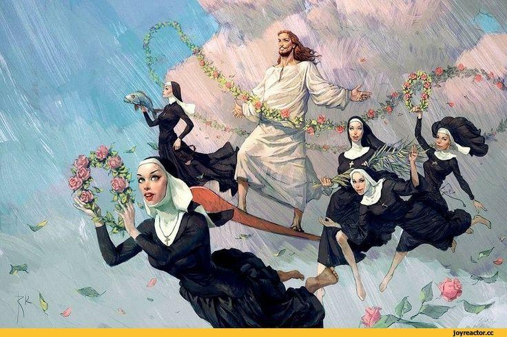 иисус,монашки,оттяг,рисунок,религия
