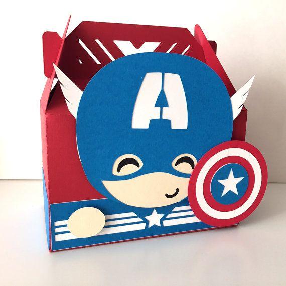 Adorable Avengers themed party favor boxes. Captain America.