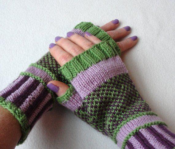 5be561329 KNITTING PATTERN Purple Passion fingerless mitts   Fingerless Gloves    Adult Teen Sizes