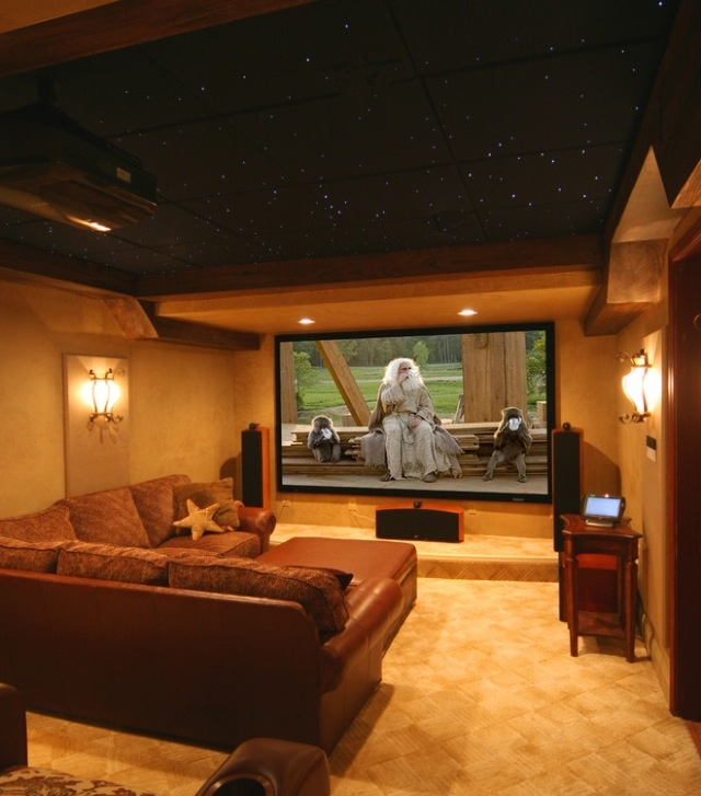 Basement Media Room Idea  Love The Dark Ceiling And Wall Sconces. Projector  Mounted In Ceiling, Or 72 Inch LED?