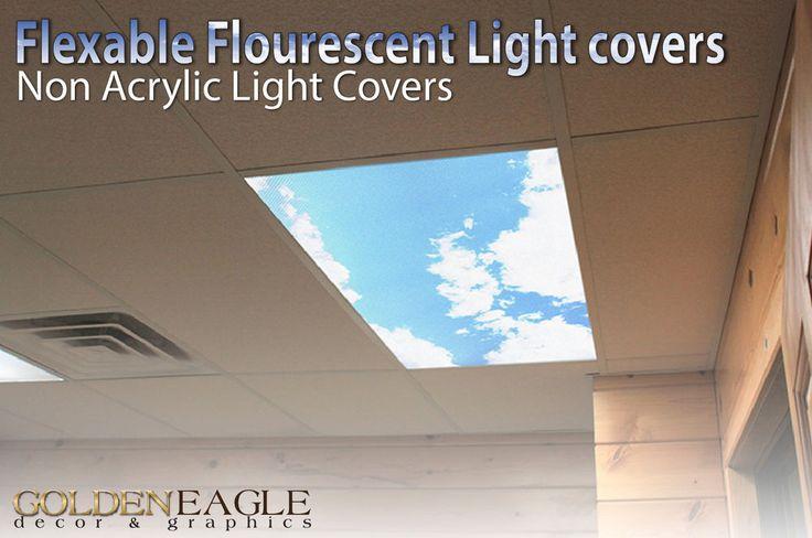 Fluorescent Light Panel Diffuser Sky & Cloud Dentist Office Classroom Home…