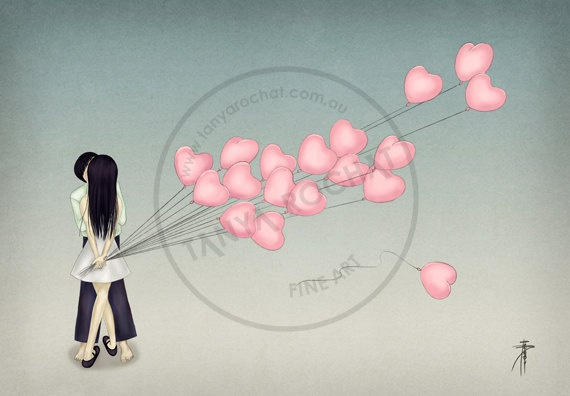 Cards, Greeting cards.   A greeting card Illustration of a couple kissing with a bunch of heart shaped balloons.