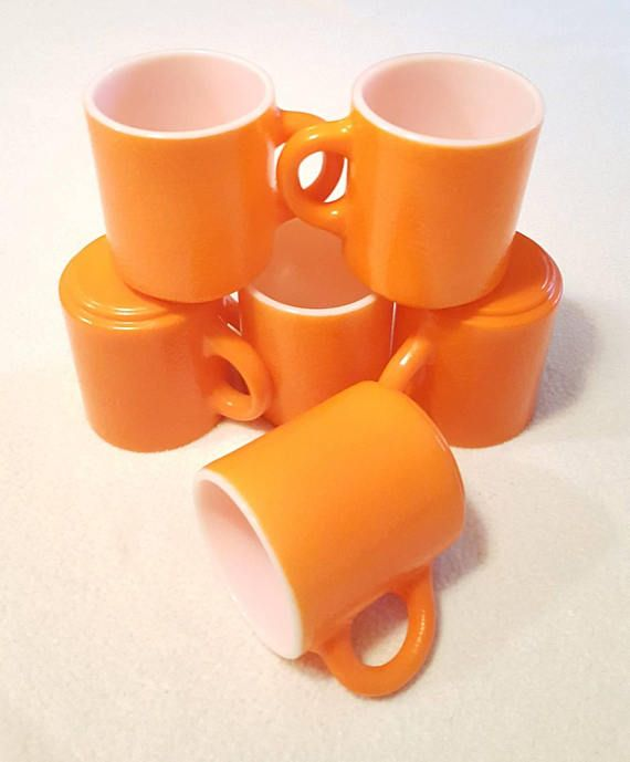 Vintage Orange Coffee Cup Mug Set