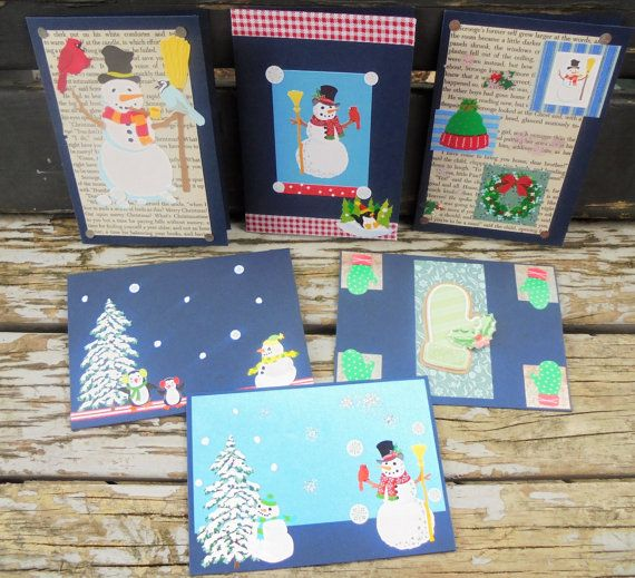 Let it Snow  set of 6 handmade cards christmas by RogueKissedCraft