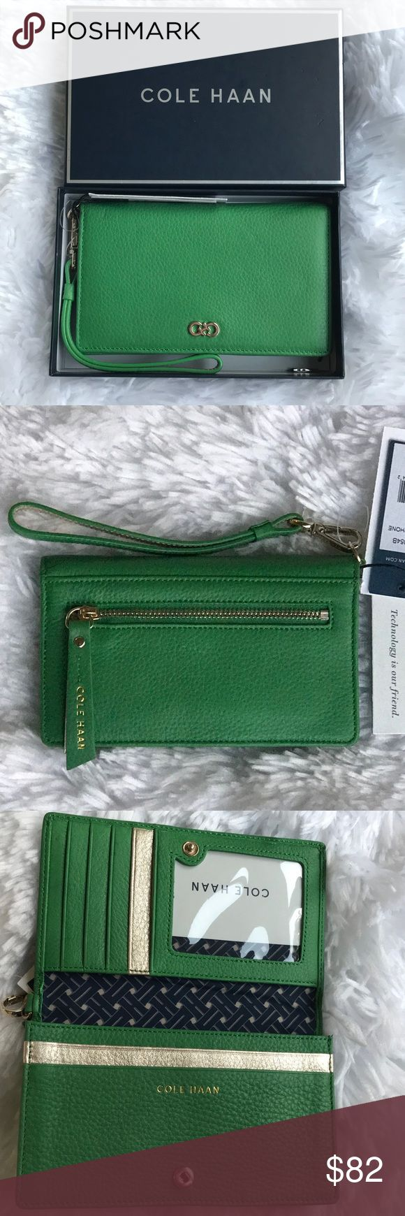 """⚡️COLE HAAN⚡️Smart Phone Wallet For iPhone 6/7 ✨NWT✨COLE HAAN Smart Phone Wallet For iPhone 6/7.(Will fit iPhone 6/7+ Plus, ONLY IF there are no cases/protective wear, and it's SOLELY just the iPhone)❣️Approximately 6"""" L x 3.5"""" W x 0.75"""" D. Color: Green/Silver/Gold """"COLE HAAN"""" embossed Logo on the back zipper and interior of wallet. Condition: NWT, with a VERY slight scuff underneath the center of back zipper(Please see last photo). Minor defect is reflected in price. Wallet includes…"""