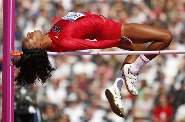 United States' Brigetta Barrett competes in a women's high jump qualification round during the athletics in the Olympic Stadium.