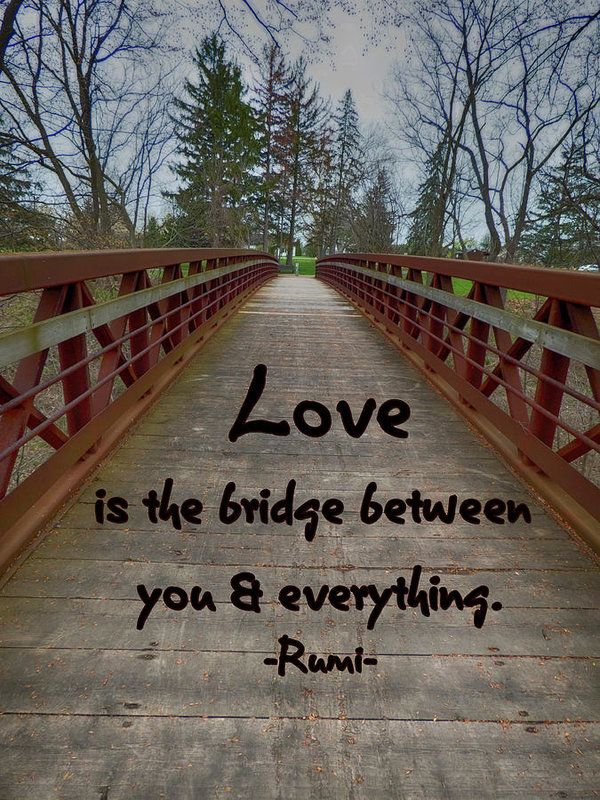 The Bridge Art Print by Leslie Montgomery featuring a quote by Rumi.