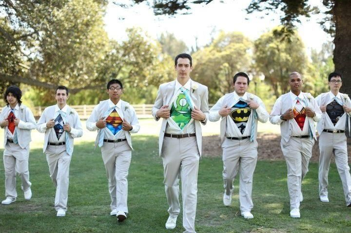 #Nerd Awesome   poppylife:    Superheroes   The groom and his groomsmen, from a wedding my friend was in…  Love it!