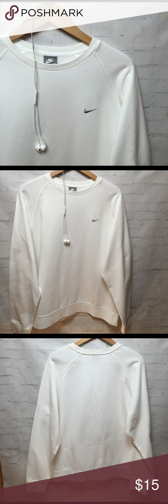 🆕 NIKE Sweatshirt NIKE Sweatshirt..White w/Gray swoosh ... Great condition! Nike Tops Sweatshirts & Hoodies