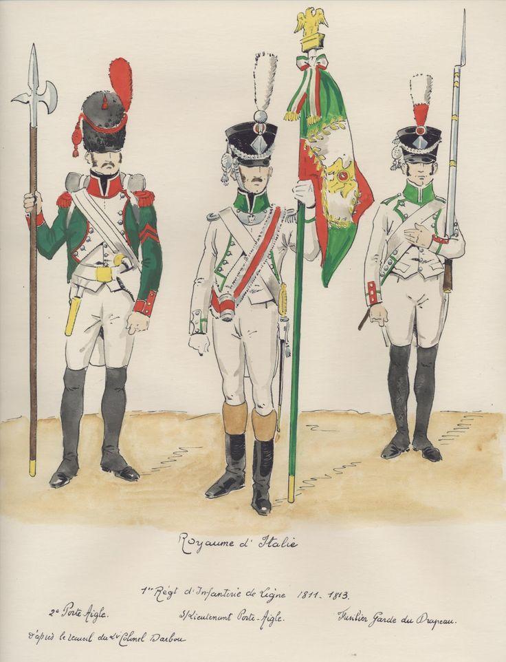Italy; 1st Line Infantry, 1811-13, 2nd Porte Aigle, Sous Lieutenant Porte Aigle & Fuslier Eagle Guard.