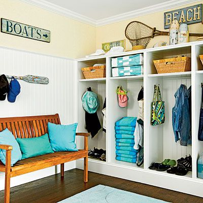 love the lockers and the beadboard up to the top of the lockers on adjoining wall: Built In, Mudrooms, Pools Houses, Mud Rooms, Hardwork Mudroom, Coastal Living, Beaches Houses, Mudroom Ideas, Glasses Houses