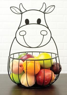 Here is the Cow Metal Basket that you can find Simply Bovine. Check us out today ......