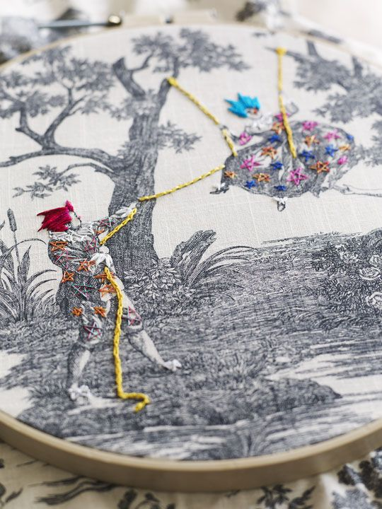 Textile artist, Richard Saja, does magical embroidery over vintage toile.