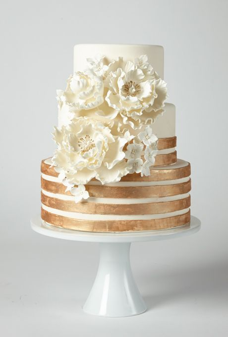 Brides: America's Prettiest Wedding Cakes   A Glamorous Ivory Cake with Copper Stripes and Flowers   Cake by Coco Paloma Desserts