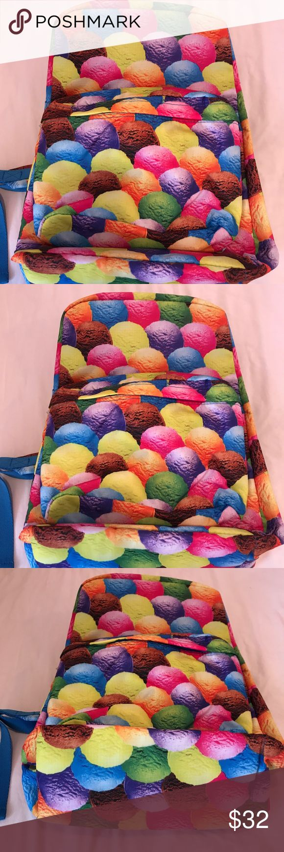 iscream***Ice cream BackPack**$40 Back to School iscream brand backpack. The pattern is also ice cream scoops. Gorgeous backpack that has great compartments. The medium size compartment has an interior white velvet, great for putting electronics or anything breakable. This bag is brand new and perfect for back to school. It has all tags still attached. iscream Accessories Bags