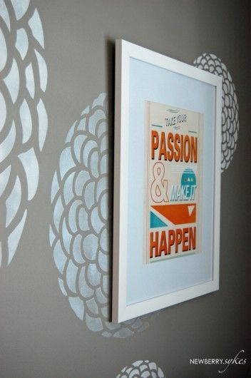 A stenciled office makeover using the Zinnia Grande pattern. http://www.cuttingedgestencils.com/flower-stencil-zinnia-wall.html