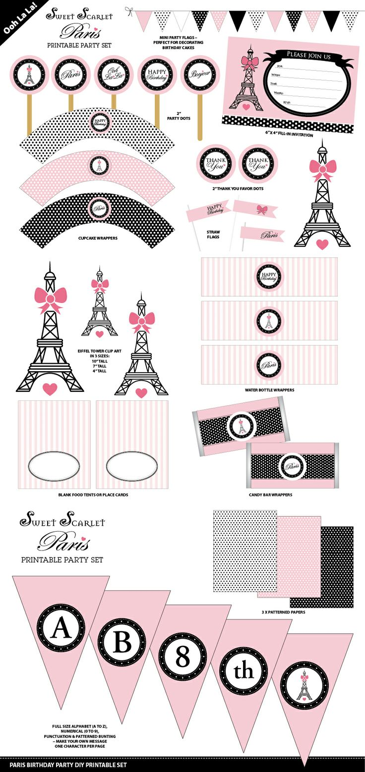 Paris Birthday Party Printable Set