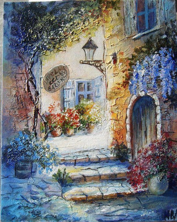 "Original ACRYLIC Painting Canvas Art original gift Fine Art Interior Paintings 10 x 12"" Mediterranean Landscape Wall Art Marina Beikmane Art"