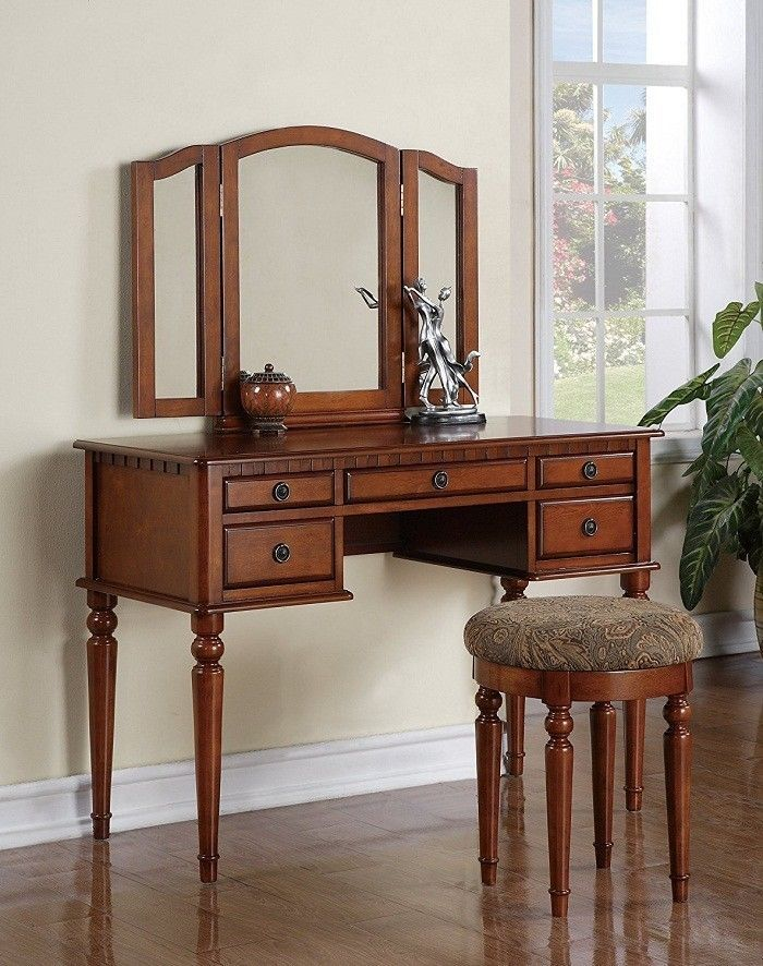 Makeup Table Vanity Set Dresser 5 Drawer Tri Fold Mirror Stool Bedroom Furniture #BOBKONA