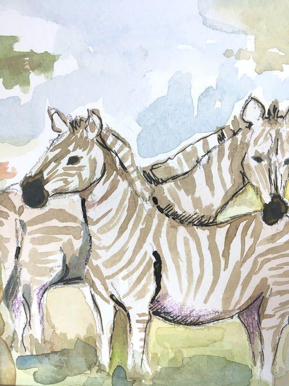 Small Custom African Safari Savannah Animals Pair Of Zebras Nursery Kids Room Decoration Watercolor In 2020 Zebra Nursery African Safari Zebras
