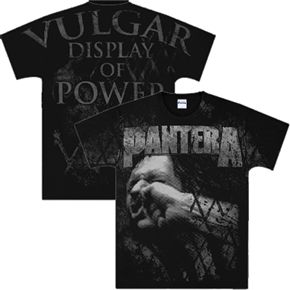 Official Pantera t-shirt with all-over print featuring the Vulgar Display of Power logo and image.