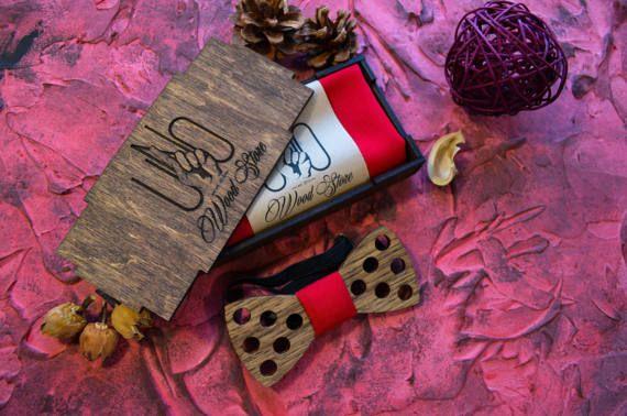 red bowtie / custom ties wedding / wedding tie and by UNOWoodStore