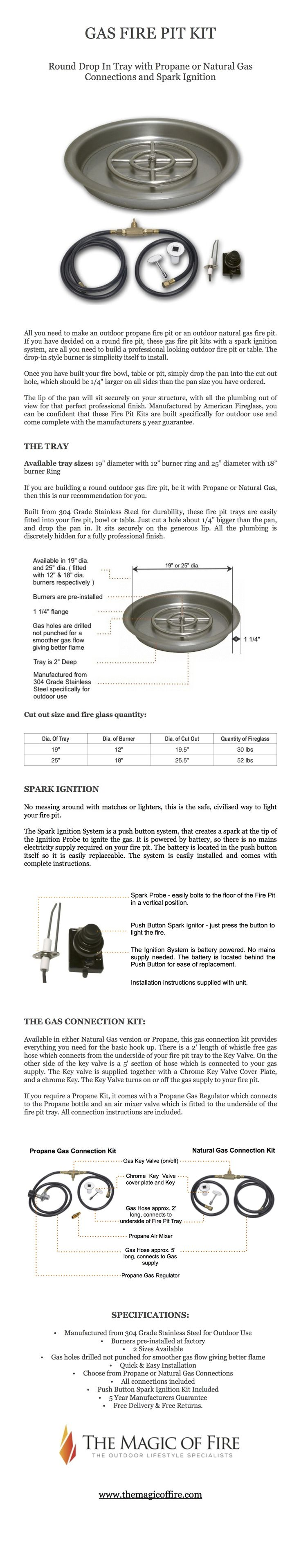 Gas Fire Pit Kit - Round Drop In Tray with Gas Connections and Spark Ignition