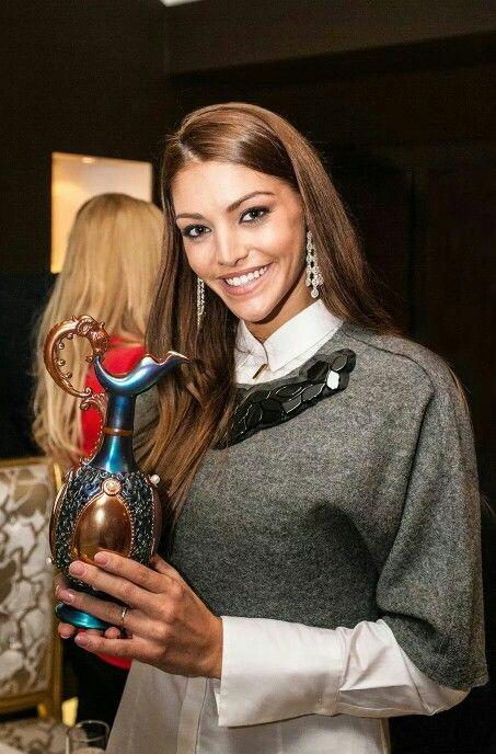 Beautiful Hungarian model Edina Kulcsár posing with the exclusive Zsolnay x Royal Diamonds Vase