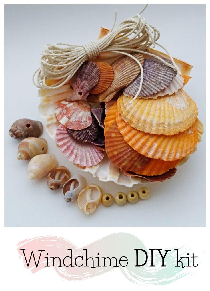 Diy seashell wind chime craft kit seashells with natural