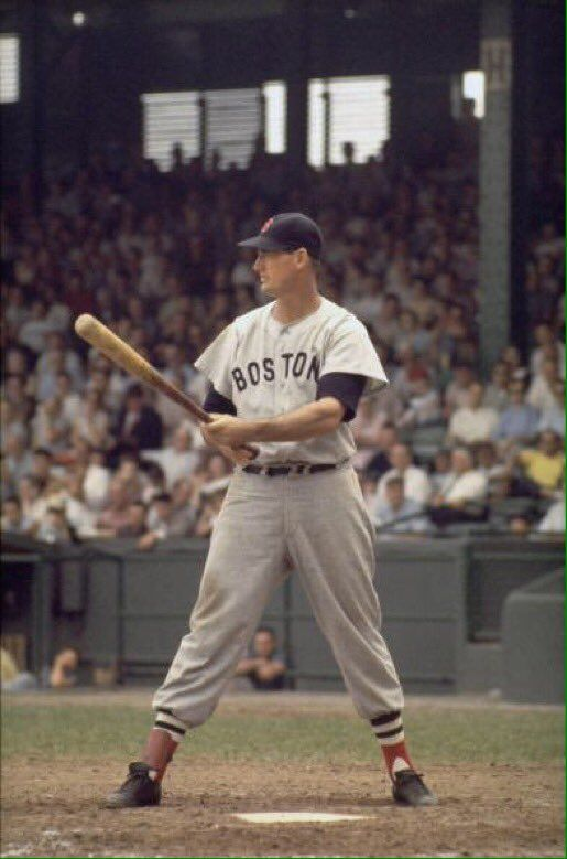 Ted Williams batting in the late 1950's against the Washington Senators.