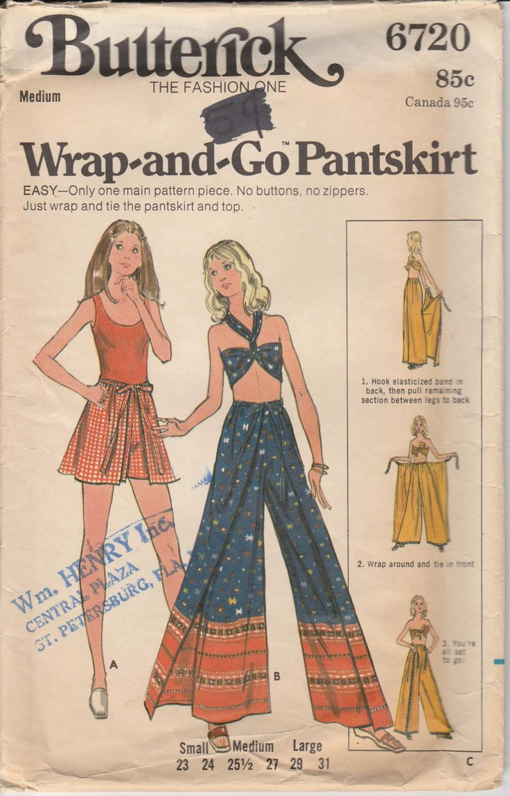 Pantskirt Pattern Vintage Wrap and Go Flared Pants Wrap Around Shorts Halter Top Size Medium Butterick 6720 by PrettyfulPatterns on Etsy