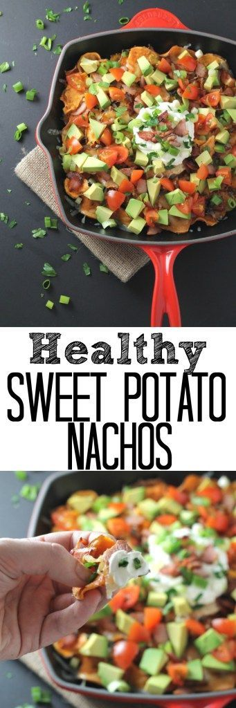 A delicious and healthy nachos recipe made with sweet potatoes and topped with cheese, bacon, avocado and tomatoes!