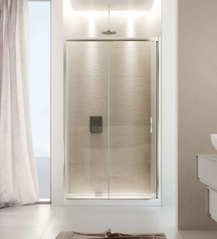 Box #doccia scorrevole per nicchia, in vetro #temperato trasparente o stampato, con struttura in #alluminio anodizzato.