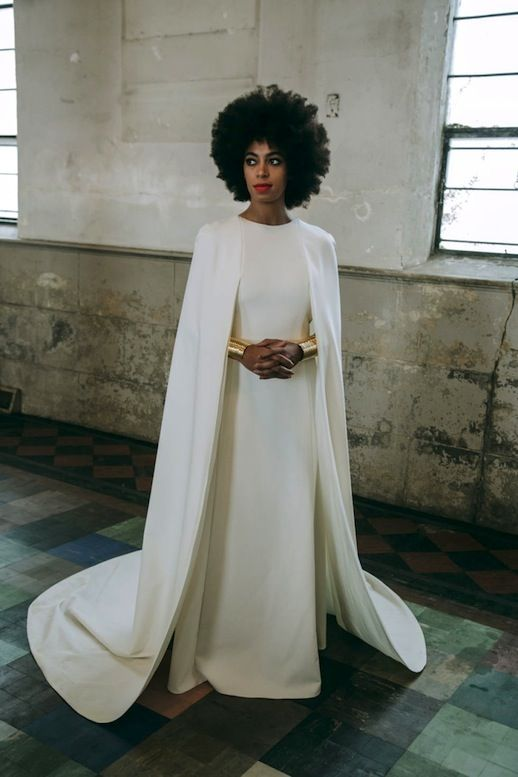 20 Alternative Wedding Looks Solange Knowles Wedding Cape Dress Humberto Leon For Kenzo Gold Cuffs Non-Traditional Bride photo 12-20-Alternative-Wedding-Looks-Solange-Knowles-Wedding-Cape-Dress-Humberto-Leon-For-Kenzo-Gold-Cuffs.jpg